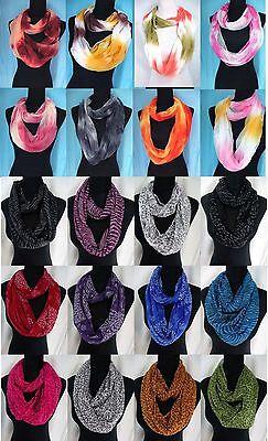 lot of 10 wholesale infinity scarf animal print tie dye loop double women gift