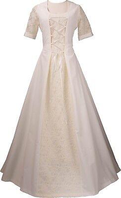 Mittelalter Gothic Karneval Halloween Brautkleid Kostüm Elsa Ecru-Creme - Halloween Hochzeit Kleider
