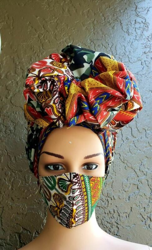African Print Ankara Dashiki Mask Head Wrap Headwrap Set - Red Dashiki