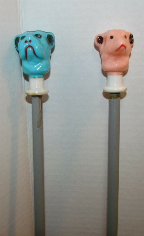 2 Vintage Carnival Cane Walking Stick with Dog Heads Tops
