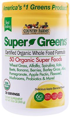 Country Farms Super Greens Banana flavor, 50 Organic 20 servings 10.6 oz