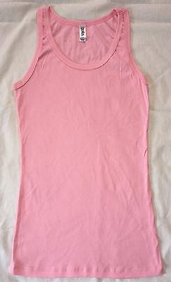 NEW Bella Ladies Sheer Rib Tank Top Longer Length Shirt Pink L Ladies Sheer Rib Tank