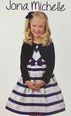 Flower Girl Dresses With Jackets (Jona Michelle Flower Girl Holiday Navy Stripe Dress with Jacket, 12 -)