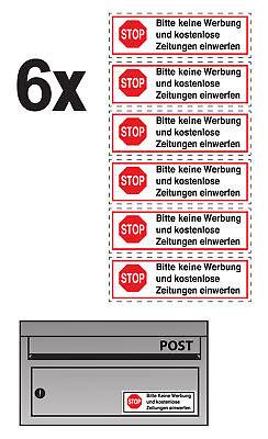 6x Bitte Keine Werbung Einwerfen Aufkleber Wetterfest