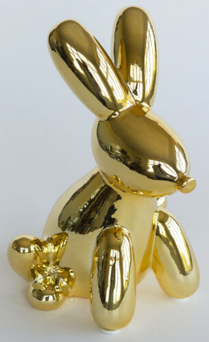 "Ceramic Balloon Bunny Money Bank, Metallic Gold, 7""W x 6""D x 10""T"