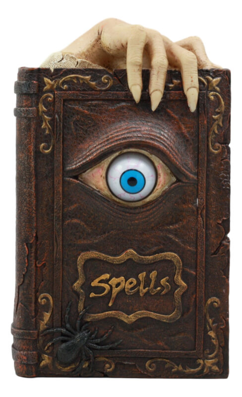 "Ebros Witchcraft Sorcery Lifelike Evil Eye Book of Spells Money Bank Decor 8.5""H"