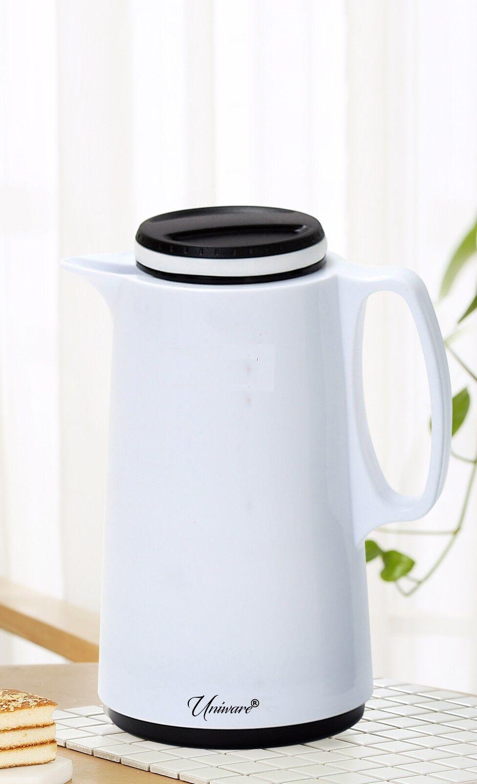 1.05 Quart Vacuum Coffee Thermos Pot With Handle, White