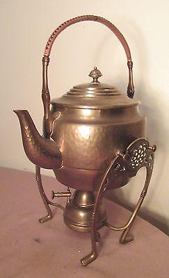 antique 1800 brass hand woven Art Nouveau Jugendstil teapot tea set burner stand