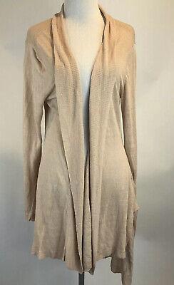 Eileen Fisher Woman's SZ L Beige Open Long Linen Lightweight Cardigan Sweater