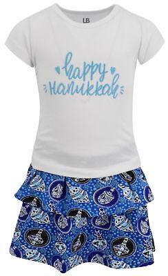 (Girls Happy Hanukkah Dreidel Print Skirt Dress Boutique Toddler Kids Clothes)