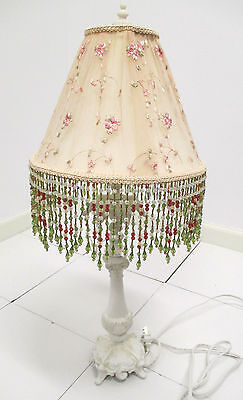 Antiques Plus Shabby Chic Lamp W  Handmade Silk Floral Shade W  Hanging Beads