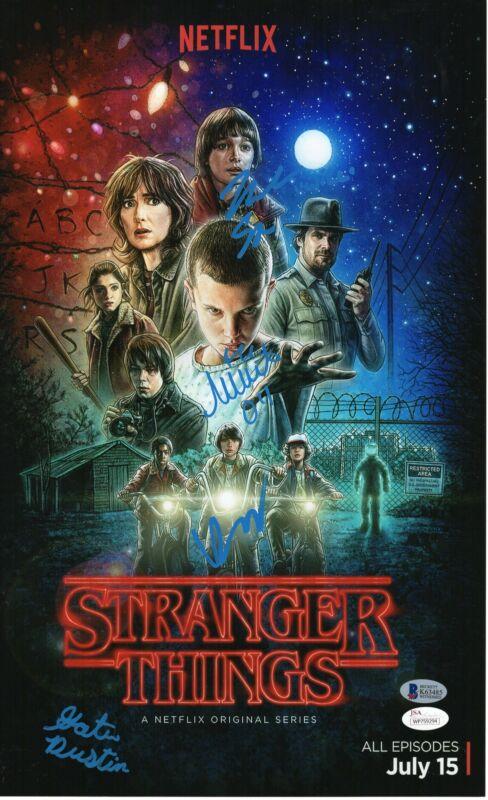 Stranger Things Autograph 11x17 Photo Noah Millie Gaten and Finn RARE JSA COA