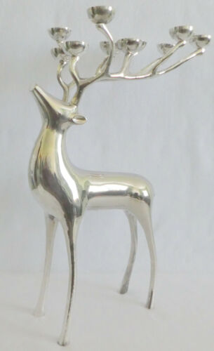 "Pottery Barn REINDEER Candelabra 10 Point Deer Silverplated 20"" High"
