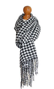 Womens Ladies Mens Dogtooth Houndstooth Scarf Pasmina Wrap Shawl