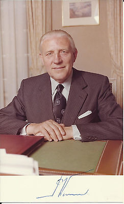 Pierre Werner - Prime Minister of Luxembourg Autographed 3x5 Photo with Card