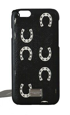 NEW $150 DOLCE & GABBANA Phone Case Cover Black Leather Horseshoe Print iPhone6