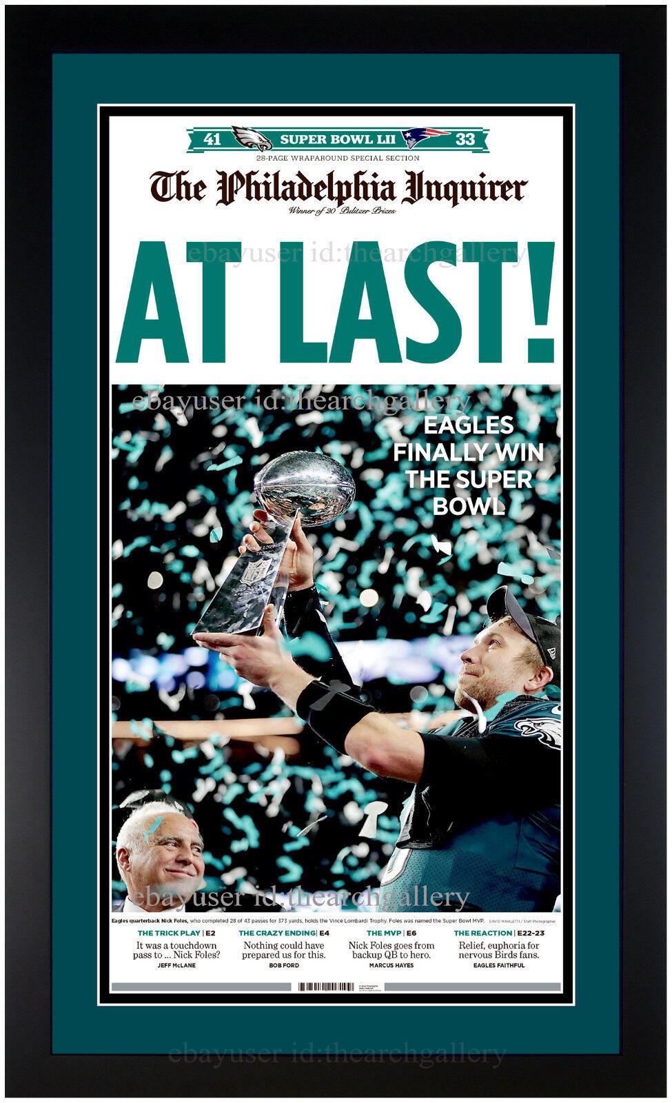 Купить Janout Fine Framing - Philadelphia Eagles Super Bowl LII Champions Inquirer Newspaper Framed 2-5-2018
