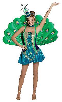Peacock Deluxe Adult Women's Costume Green Iridescent Fancy Dress Rasta Imposta