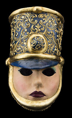 Mask Venice The Soldier blue and golden paper mash Carnival 962