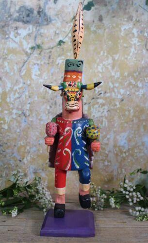 Bull Steer Dancer Folkloric Handmade Hand Painted Wood Figure Guatemala Folk Art