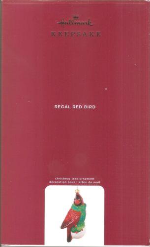 2020 Hallmark Ornament  Regal Red Bird  Blown Glass  Made in Poland