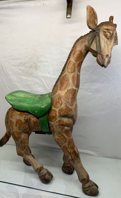 "Vintage 30"" Tall Hand Carved Wooden Carousel Horse Great Detail"