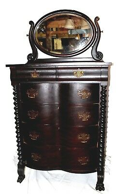 Antique American Empire Mahogany Dresser w/ Beveled Tilt Mirror & Barley Twists
