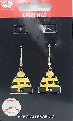 PITTSBURGH PIRATES EARRINGS KNIT BEANIE HAT CAP W/TEAM LOGO Official (Pittsburgh Pirates Logo Earrings)