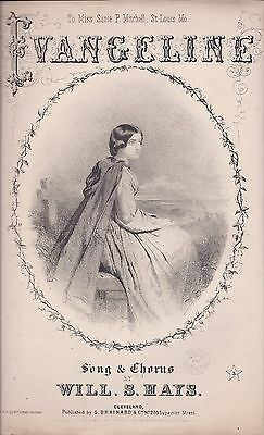 Evangeline, Civil War Sheet Music, 1865, Litho. Ehrgott, Forbriger & Co.