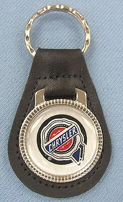 Vintage Silver Chrysler Wax Seal Black Leather Usa Keyring 1932 1933 1934 1935