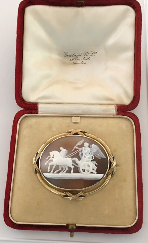 Fantastic Antique Victorian 14k Carved Shell Cameo, Original Fitted Box