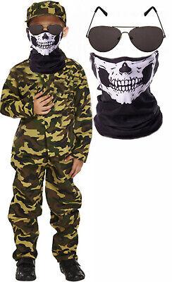 Halloween Costumes Army (Army Boys Soldier Halloween Fancy Dress Costume Skeleton Skull Mask)