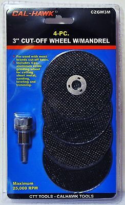 "4 Pc 3"" inch metal cut off wheel disc with mandrel for Die Grinder 1/32"" thick"