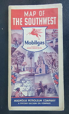 1940 Southwest United States Road Map Magnolia Socony Vacuum  Oil Gas Route 66