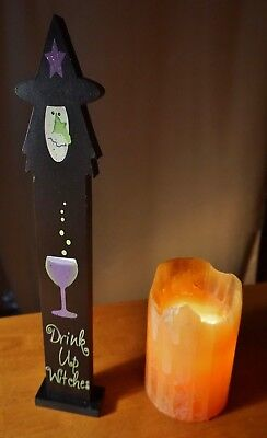 DRINK UP WITCHES HALLOWEEN SIGN Witch Wine Party Centerpiece Home Bar Decor NEW - Drinks Halloween