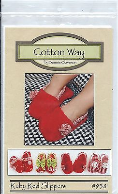 Toddler Ruby Red Slippers (RUBY RED SLIPPERS Toddler Slippers Sewing Pattern from Cotton Way Sz 5-6 to)
