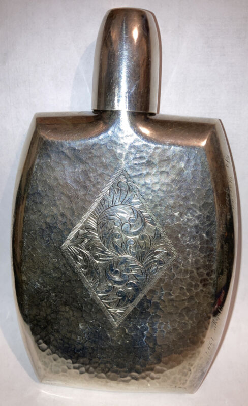 Heavy Antique 1947 Japanese Silver 950 post  WWII  Era Hammered Ornate Flask