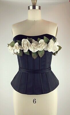 Elizabeth Kennedy Corset Top With Flowers Black Size2