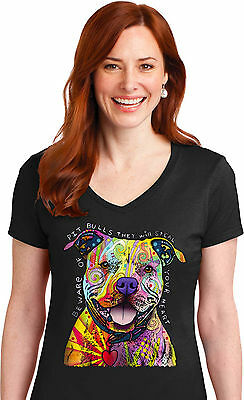Pit Bull Womens V neck T shirt Neon Dog Will Steal Your Heart Free Shipping
