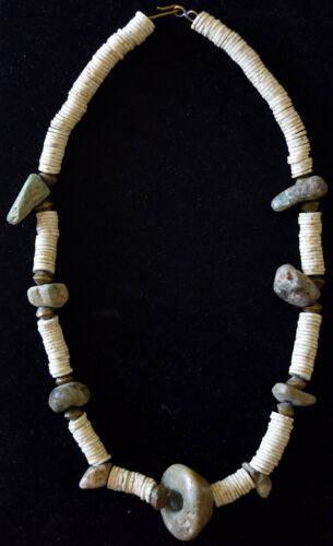 Ancient Pre Columbian Shell Beads and Jade/Hard Stone Necklace