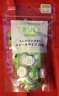 """Daiso Japan Compressed Towel Small size 20 sheets  6.3 """"× 10.2"""" 16×26cm"""