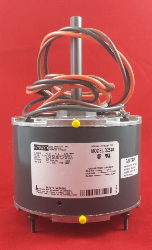 D2840 Fasco 1075 RPM AC Air Conditioner Condenser Fan Motor 1/5 HP 51-21853-82