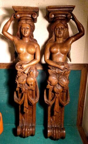 PAIR OF CARYATIDS Antique 19th HAND CARVED WOOD 635mm WALL FIGURE STATUES