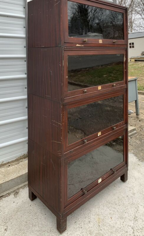 Antique Metal Barrister Bookcase Industrial Storage Cabinet Faux Wood Grain Vtg