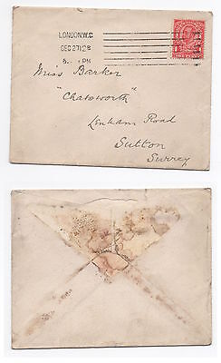 GB 1912 KGV Cover LONDON WC To SUTTON SG341
