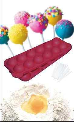 Cake Pop Backform, Cake Pop Set, Silikonform, rot, mit 24 Cake Pop Sticks, NEU