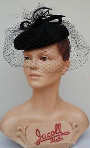 Ladies Vintage style Navy Felt Pillbox hat with Veil. Goodwood/Wedding/Races