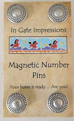 SILVER CONCHO Magnetic number pins horse show number magnet holders