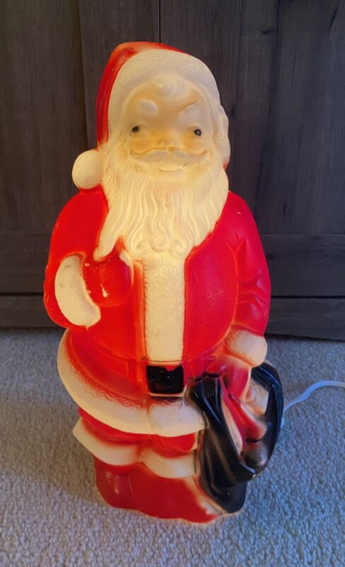 """Vintage Santa Claus Blow Mold Empire Plastic 14"""" Tall Lighted"""