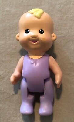 Fisher Price My First Dollhouse Blonde Baby Girl in Purple